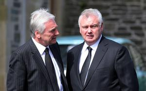 Broadcaster Paul Clarke and  Eamonn Holmes during the funeral of BBC broadcaster Gerry Anderson at St Eugene's Cathedral in Londonderry. PRESS ASSOCIATION Photo. Picture date: Sunday August 24, 2014. See PA story FUNERAL Anderson. Photo credit should read: Niall Carson/PA Wire