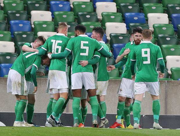 Press Eye - Belfast - Northern Ireland - 16th October 2018  European U21 Championship 2019 Qualifying Round at the National Stadium art Windsor Park.  Northern Ireland Vs Slovakia.   Northern Ireland celebrate after scoring to make it 1-0.   Picture by Jonathan Porter/PressEye