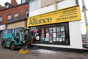 Petrol bombs were thrown at Naomi Long's office on Tuesday night. The attack at the east Belfast Alliance MP's office on the Upper Newtownards Road caused scorched damage along with broken window.  Photo-Jonathan Porter/Presseye.