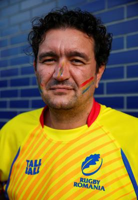 LEICESTER, ENGLAND - OCTOBER 06:  A Romania fan arrives at the stadium prior to kickoff during the 2015 Rugby World Cup Pool D match between Canada and Romania at Leicester City Stadium on October 6, 2015 in Leicester, United Kingdom.  (Photo by Michael Steele/Getty Images)