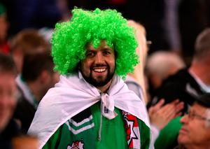 A Northern Ireland fan during the 2018 FIFA World Cup Qualifying, Group C match at Windsor Park, Belfast. PRESS ASSOCIATION Photo. Picture date: Thursday October 5, 2017.  Niall Carson/PA Wire.