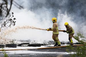 Press Eye - Belfast - Northern Ireland - 23rd May 2020 -    Northern Ireland Fire Service and PSNI attend the fire at Pennyburn Industrial Estate, Derry.