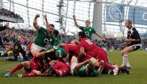 Ireland's Chris Henry scores a try against Wales during the RBS 6 Nations match at the Aviva Stadium, Dublin