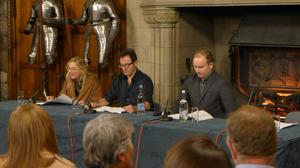A previous Edinburgh Castle production with Lesley Sharp, Jason Isaacs and artistic director Bryan Doerries (Bravehound/PA)