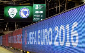 A general view of the electronic scoreboad and hoarding boards ahead of the UEFA Euro 2016 Qualifying Playoff second leg at the Aviva Stadium, Dublin. PRESS ASSOCIATION Photo. Picture date: Monday November 16, 2015. See PA story SOCCER Republic. Photo credit should read: Martin Rickett/PA Wire. RESTRICTIONS Editorial use only, No commercial use without prior permission, please contact PA Images for further information: Tel: +44 (0) 115 8447447.