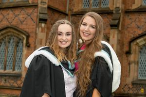 Sarah Woods and Emily Millen both celebrate graduation success at Queens University Belfast as they graduate with a degree in Early Childhood Studies from Stranmillis University College of Queens University Belfast