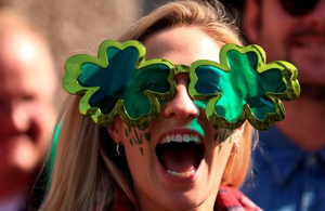 An Ireland fan before the Rugby World Cup match at The Millennium Stadium, Cardiff.