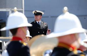 Press Eye - Belfast - Northern Ireland - 31st May 2016 -   HMS CAROLINE MARKS 10,000 IRISH SAILORS IN WW1  HMS Caroline, one of the worldÕs most historically significant war ships, is the focus of a unique commemoration of 10,000 Irish sailors who participated in the First World War on Tuesday May 31.   Moored in Alexandra Dock in BelfastÕs QueenÕs Island the ship which has undergone a major Heritage Lottery Fund-backed restoration programme, joins commemorative events across the UK including Jutland Bank in the North Sea and Kirkwall in Orkney where the British Grand Fleet mobilized ahead of the Battle of Jutland.  General view of the Commemoration of The Irish Sailor and Centenary of Battle of Jutland ceremonies at Alexandra Dock where HMS Caroline is docked.  Photo by Kelvin Boyes / Press Eye