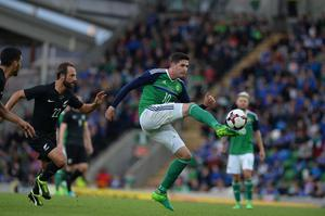 PACEMAKER BELFAST  02/06/2017 Northern Ireland v New Zealand Friendly International Northern IrelandÕs Kyle Lafferty  and New ZealandÕs Andrew Durante during this evenings game at the National Stadium Windsor Park. Photo Colm Lenaghan/Pacemaker Press