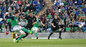 PressEye-Northern Ireland- 2nd June 2017-Picture by Brian Little/PressEye  Northern Ireland. Kyle Lafferty shot against New Zealand  during Friday night's Vauxhall  International at  the National Football Stadium, Windsor Park ,Belfast. Picture by Brian Little/PressEye