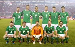 Northern Ireland players line up to face Panama.