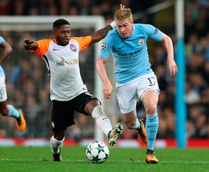 Deadly duel: Fred of Shakhtar Donetsk and Kevin De Bruyne of Manchester City battle for possession during last night's Champions League tie in the City of Manchester Stadium. Photo: Matthew Lewis/Getty Images