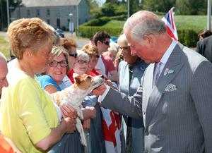 The Prince of Wales strokes a dog outside the new centre in Bellaghy, dedicated to poet Seamus Heaney during their visit to Northern Ireland.  Liam McBurney/PA Wire