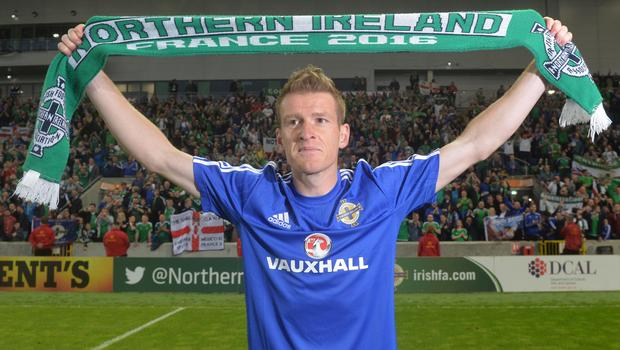 PACEMAKER BELFAST   27/05/2016 Northern Ireland v Belarus  Friendly International Northern Ireland  captain Steve Davis celebrates with the fans after  this evenings Friendly International at Windsor park. Photo Colm Lenaghan/Pacemaker Press