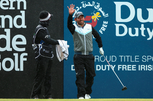 Pablo Larrazabal of Spain gestures during the Pro-Am  (Photo by Andrew Redington/Getty Images)