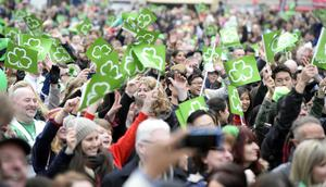 Belfast St Patrick's day celebrations in 2015.  Thousands of people descend on Belfast City centre.  Picture Mark Marlow/Pacemaker Press