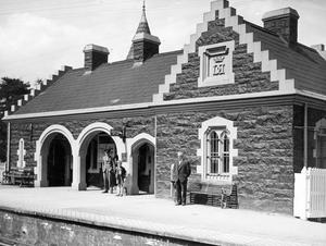 Waiting for the train at Helen's Bay station.  25/6/1937