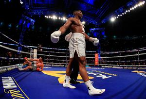 LONDON, ENGLAND - APRIL 29:  Anthony Joshua (White Shorts) puts Wladimir Klitschko (Gray Shorts) down in the 11th round during the IBF, WBA and IBO Heavyweight World Title bout at Wembley Stadium on April 29, 2017 in London, England.  (Photo by Richard Heathcote/Getty Images)