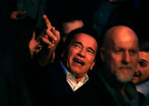 LONDON, ENGLAND - APRIL 29:  Arnold Schwarzenegger watches on prior to the fight between Anthony Joshua and Wladimir Klitschko for the IBF, WBA and IBO Heavyweight World Title bout  at Wembley Stadium on April 29, 2017 in London, England.  (Photo by Richard Heathcote/Getty Images)