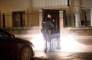 Police at the scene of the shooting. Picture - Kevin Scott / Presseye
