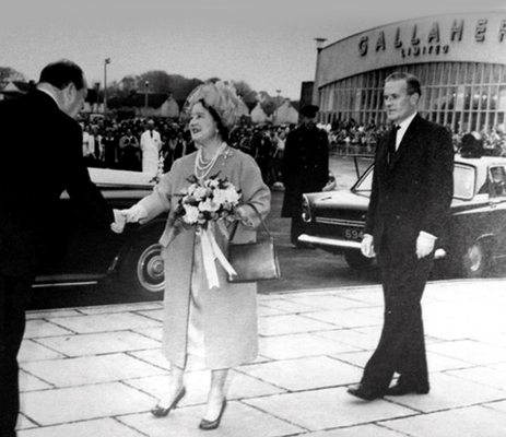 The Queen Mother visiting the Gallaher's factory in 1963