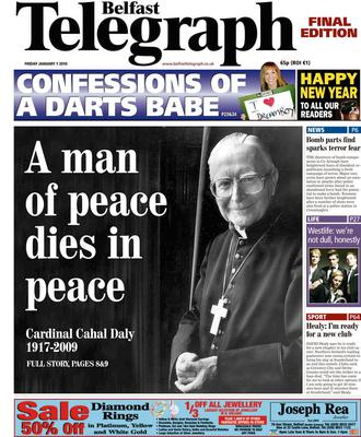 Belfast Telegraph. Page One. Final  1/1/2010. Death of Cardinal Cathal Daly