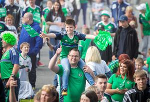 Fans showing their support  at the Titanic Fanzone, Belfast as they watch Northern Ireland V Germany in Euro 2016. PRESS ASSOCIATION Photo. Picture date: Tuesday June 21, 2016. Photo credit should read: Liam McBurney/PA Wire