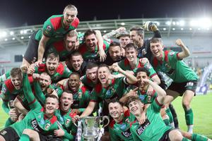 PACEMAKER PRESS BELFAST  31/7/2020  Glentoran's celebrate winning the Irish Cup final against Ballymena at the National Stadium, Belfast tonight. PICTURE BY STEPHEN DAVISON