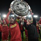 Cliftonville's Joe Gormley and Chris Curran celebrate winning the Co Antrim Shield