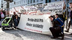 Berlin-Irish Pro Choice Solidarity protest held outside the British Embassy in Berlin. Photograph by Oliver Feldhaus