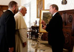 Pope Francis exchanges gifts with Irish Taoiseach Enda Kenny (L) during a private audience on November 28, 2016 at the Vatican. / AFP PHOTO / POOL / Alessandra TarantinoALESSANDRA TARANTINO/AFP/Getty Images