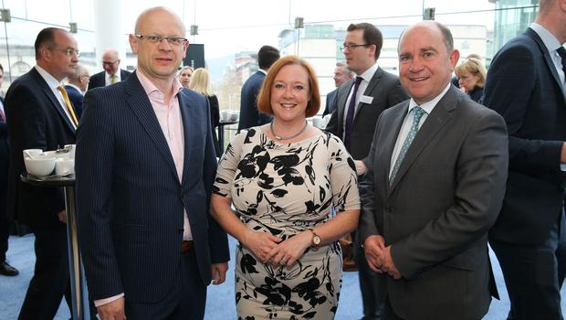 At the official launch of the Belfast Telegraph Top 100 Companies, in association with Arthur Cox, are: Darwin Templeton, Belfast Telegraph, Lizanne Jones, Arthur Cox, and Paul Stanfield, Firmus Energy.