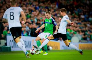 Northern Ireland's Lee Hodson and Germany's Leon Goretzka in action during the World Cup Qualifier at Windsor Park in Belfast on October 4th 2017 (Photo by Kevin Scott / Belfast Telegraph)