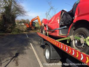 A crushed van and the tree that crushed it just outside Middletown. Pic: Gordon Adair BBC News NI