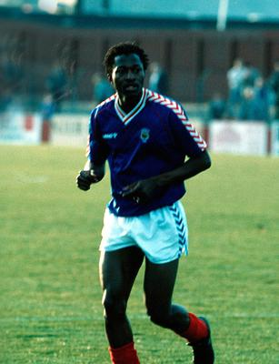 Tony Coly in action for Linfield.