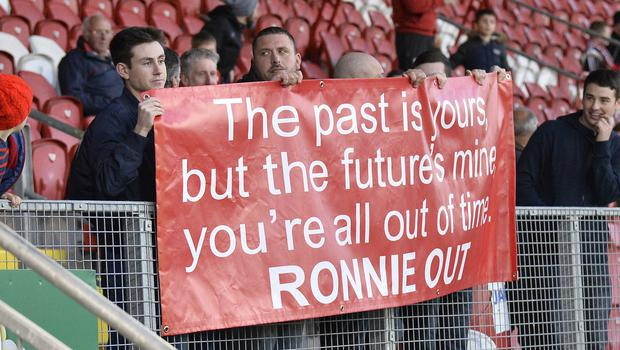 A section of Portadown fans made their feelings known towards the end of Ronnie McFall's reign.