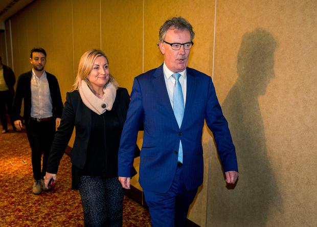 UUP Party Leader Mike Nesbitt, followed by his wife Lynda Bryans and son PJ Nesbitt, after announcing his resignation at the Park Avenue Hotel, after his party failed to make a breakthrough in the Northern Ireland Assembly election. PRESS ASSOCIATION Photo. Picture date: Friday March 3, 2017. See PA story ULSTER Election. Photo credit should read: Liam McBurney/PA Wire