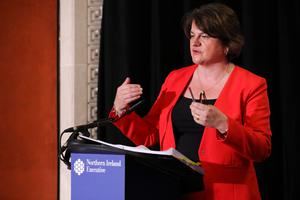 First Minister Arlene Foster during the daily media broadcast in the Long Gallery at Parliament Buildings, Stormont on Thursday. Photo by Kelvin Boyes/Press Eye