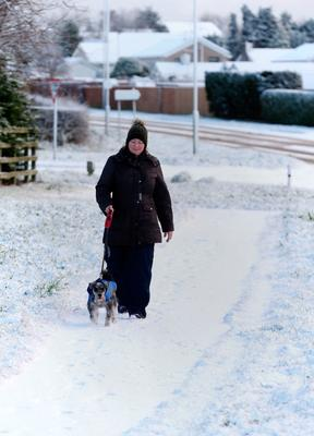 """A dog walker in the snow in Ballymena, Co Antrim, as blizzard conditions are set to sweep in, bringing """"a real taste of winter to the whole of the UK"""". Niall Carson/PA Wire"""