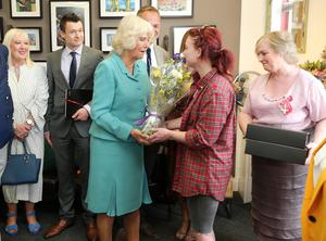 Press Eye - Belfast - Northern Ireland - 22nd May 2019 -   The Duchess of Cornwall is pictured meeting people at the Belfast Welcome Organisation in west Belfast during her 2 day visit to Northern Ireland. Belfast Welcome Organisation has been providing potentially life-saving services and support to people affected by homelessness in Belfast since 1977.  Photo by Jonathan Porter / Press Eye.