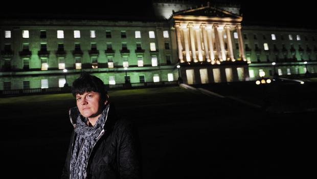 11/1/2010. NEWLY APPOINTED FIRST MINISTER ARLENE FOSTER addresses the media AT STORMONT AFTERNOON. PICTURE CHARLES MCQUILLAN/PACEMAKER.