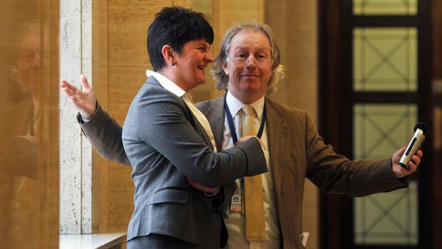 Pacemaker Press 18/1/10 Stand in First Minister Arlene Foster  with journalist Eamonn Malley at Stormont yesterday as crunch talks take place on Policing and Justice Pic Colm Lenaghan/ Pacemaker