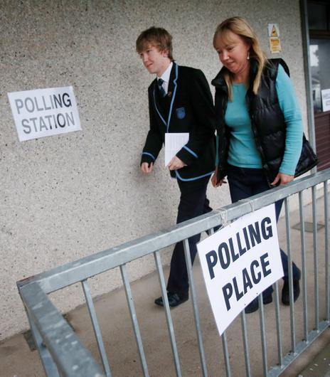A young voter at Ritchie Hall polling station in Strichen, as Scotland goes to the polls to vote in the Scottish independence referendum.