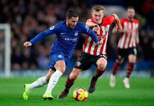 No room: Eden Hazard is closed down by James Ward-Prowse