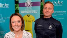 New ball game: former Spurs and Irish League player Ciaran Feehan, pictured with Laura Wylie from the Links Counselling Service, FC Mindwell's charity partner, is preparing for a comeback with newly-formed FC Mindwell in the Mid-Ulster League as part of a mental health project