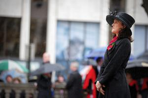 Secretary of State for Northern Ireland Theresa Villiers during the Remembrance Sunday wreath laying at the Cenotaph in the grounds of Belfast City Hall. (Photo by Kevin Scott / Presseye)