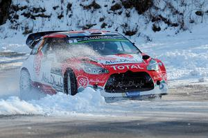 Snow progress: Kris Meeke steers his Citroen DS 3 during the second stage of the 84th Monte Carlo Rally
