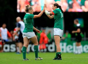 Ireland's Alison Miller and Hannah Tyrell celebrate during the 2017 Women's Rugby World Cup, Pool C match at the UCD Bowl, Dublin.  Donall Farmer/PA Wire.