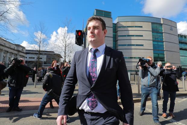 Rory Harrison leaves court. Pic Kevin Scott