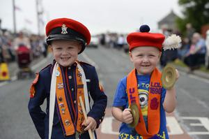 Pictured are Freddie and Charlie McKibbin at the Ballymartin and Kilkeel 12th of July celebrations. Picture Mark Marlow